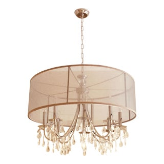 Luxurious Silk Drum Crystal Pendant Chandelier For Sale