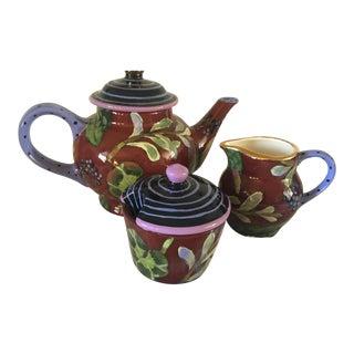 Contemporary 2003 Droll Designs Tea Pot Picher & Sugar Creamer - Set of 3 For Sale