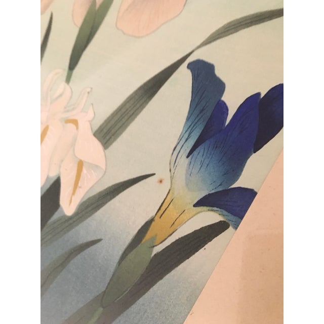 """1940s 1949 """"Iris"""" Woodblock Print by Bakufu Ohno, Framed For Sale - Image 5 of 10"""