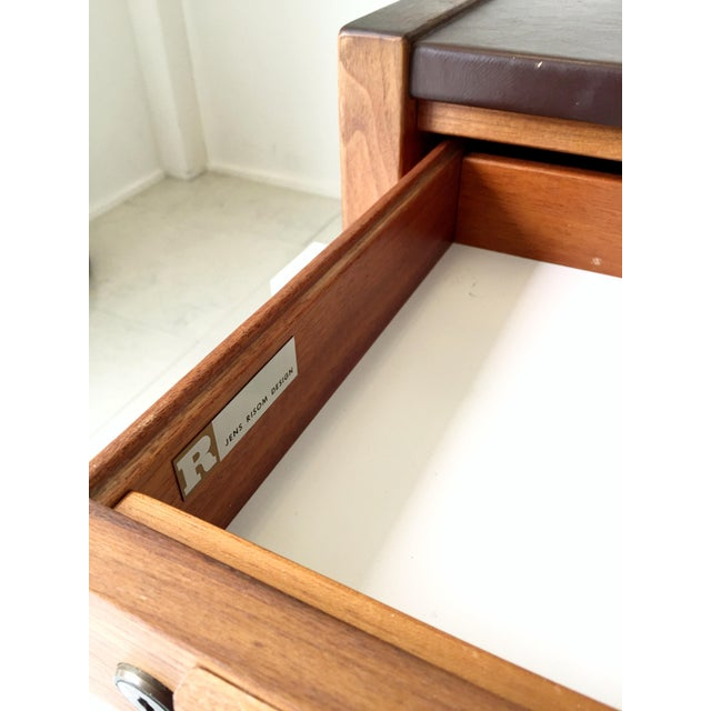 Jens Risom Leather-Topped Walnut Desk - Image 5 of 8