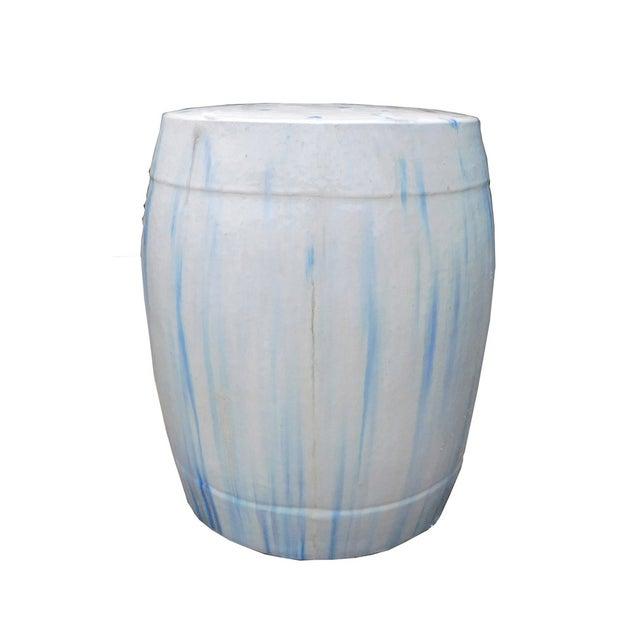 Chinese White & Blue Ceramic Garden Stool - Image 2 of 6