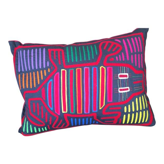 Beth Ayer Design Multicolor Mola Cloth Pillow For Sale