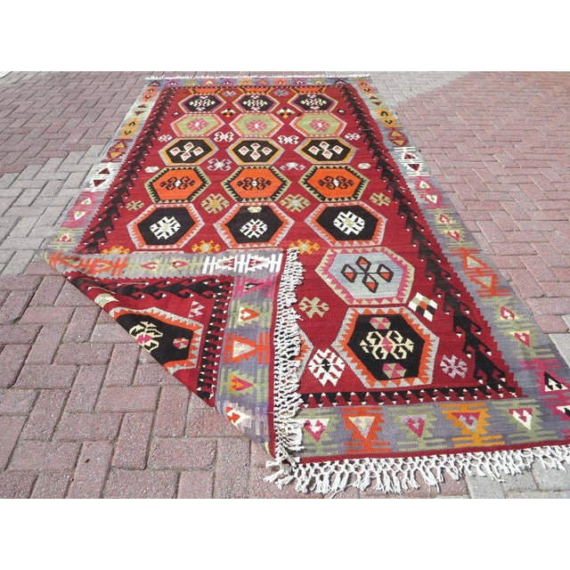 Vintage Turkish Kilim Rug - 6′6″ × 12′5″ - Image 10 of 10