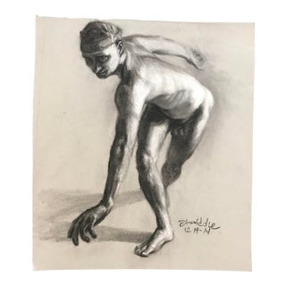 2014 Paul Dinwiddie Posing Male Studio Drawing For Sale
