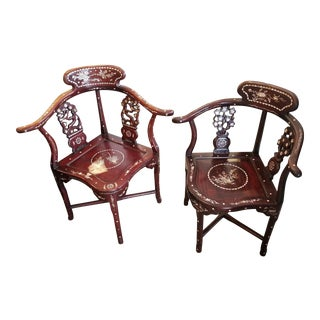 Antique Chinese Rosewood Corner Chairs - A Pair