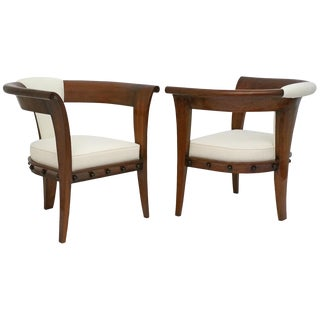 Pair of Curved Back Mahogany Chairs For Sale