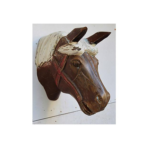 1940s Hand-Carved Carousel Horse Head - Wall Mounted - Image 4 of 11