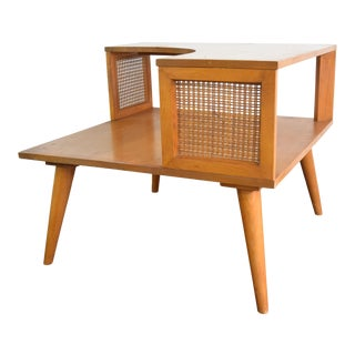 Mid Century Modern Side Table With Rattan For Sale