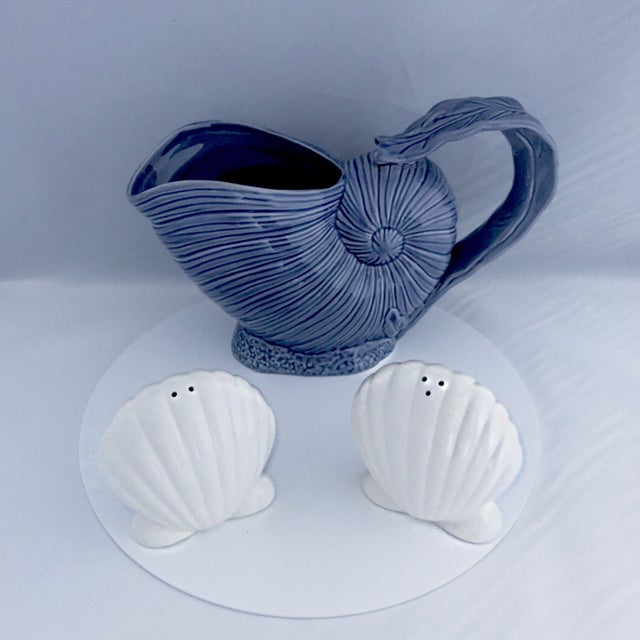 Blue Nautilus Pitcher and White Seashell Shakers Ceramic - the Set For Sale - Image 9 of 9