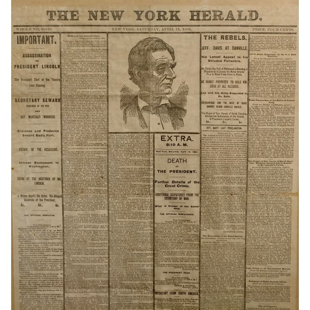 Mid 19th Century Lincoln Assassination The New York Herald 15 April 1865 Front Page For Sale - Image 5 of 9