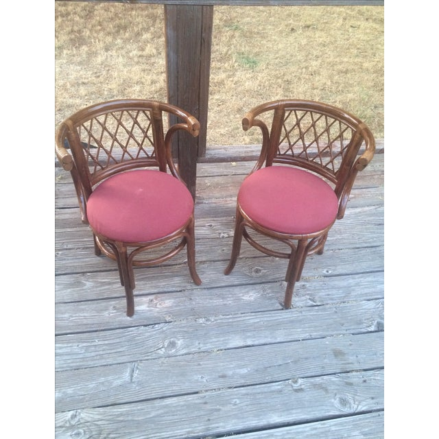 Rattan Bamboo Chairs - A Pair - Image 2 of 4