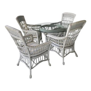 20th Century Shabby Chic White Wicker Dining Set - 5 Pieces For Sale