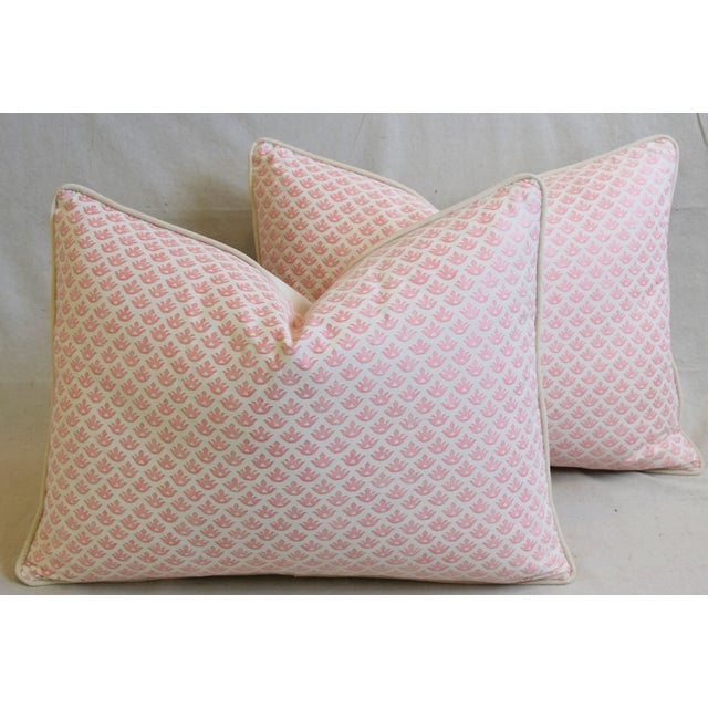 """Cotton Italian Mariano Fortuny Pink Canestrelli & Velvet Feather/Down Pillows 24"""" X 18"""" - Pair For Sale - Image 7 of 13"""
