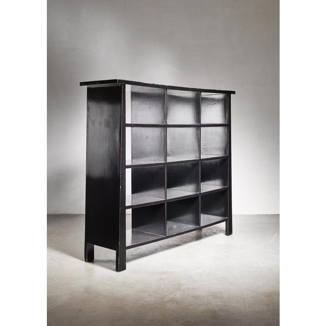 Black Lacquered Wood Bookcase, Dutch, 1930s For Sale - Image 4 of 7