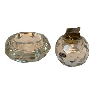 Vintage Crystal Table Lighter and Ashtray For Sale