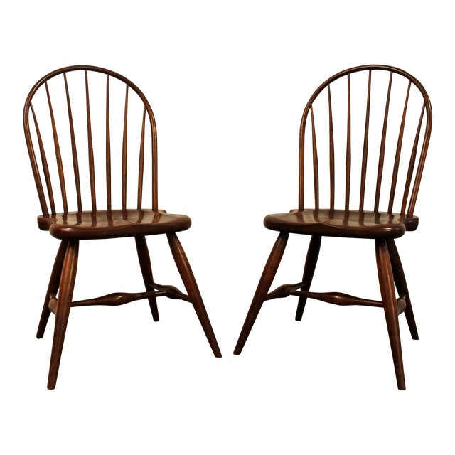 Duckloe Bros Cherry Hoop-Back Windsor Side Chairs - a Pair For Sale