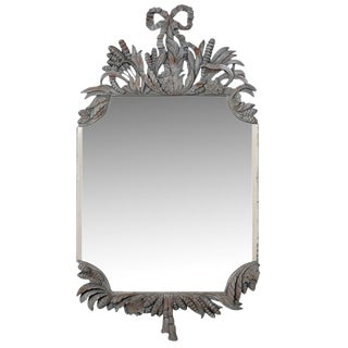 A Louis XVI Style Ornate Distressed Wall Mirror For Sale