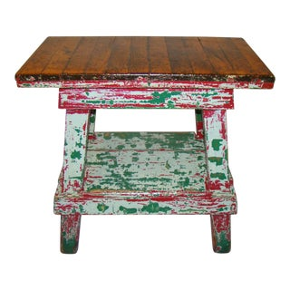 Vintage Factory Work Table in Old Paint
