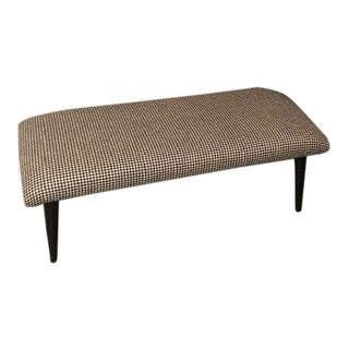 Mid-Century Hounsthoot's Wood Fabric Curated Bench For Sale