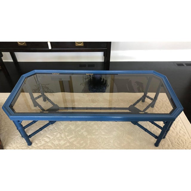 Vintage Chinoiserie Faux Bamboo Painted Coffee Table For Sale - Image 9 of 11