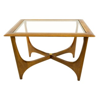 Mid Century Modern Adrian Pearsall for Lane Walnut & Glass Sculptural Side Table For Sale