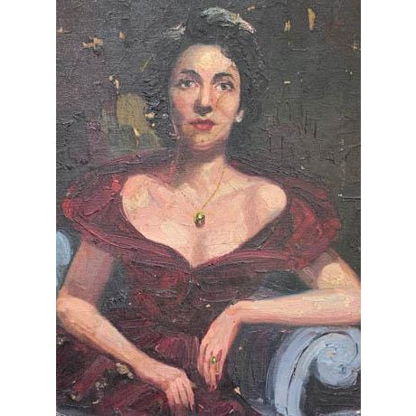 1940's Lady Painting, Portrait - Red Velvet For Sale