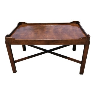Traditional Walnut Coffee Table by Henredon For Sale