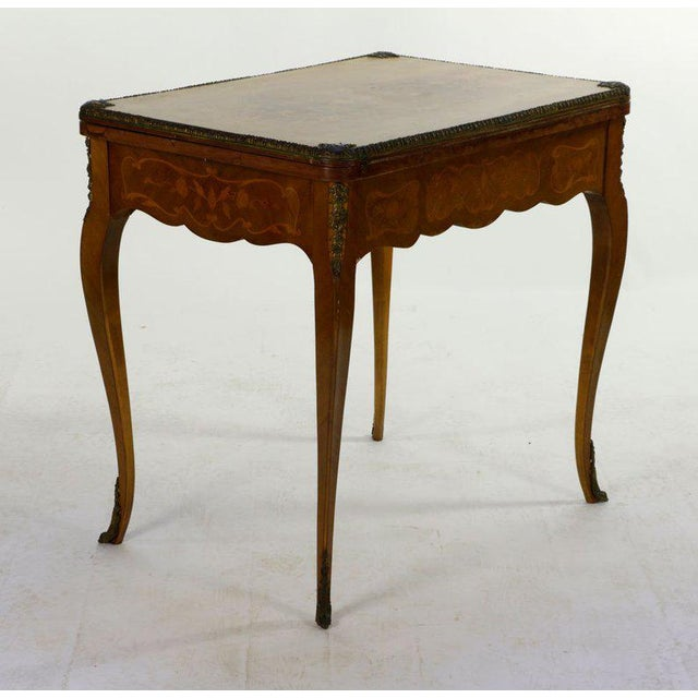 Brown 19th Century French Louis XVI Style Marquetry Game Table For Sale - Image 8 of 8