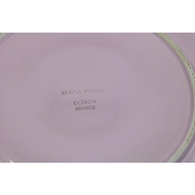 Mid Century French Country Pink Floral Ceramic Oyster Plate For Sale - Image 9 of 13