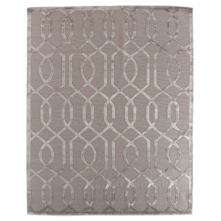 "Vera Hand knotted Wool/Viscose Silver/Silver Rug-6'x9"" For Sale"