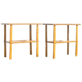 Midcentury Natural Bamboo / Rattan Tables, Pair For Sale