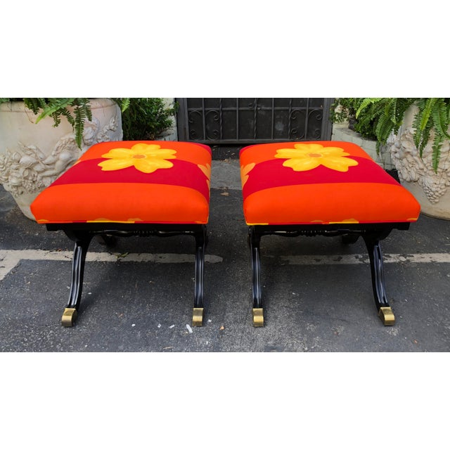 Pair of French Art Deco X Benches W Marimekko Seats For Sale In Los Angeles - Image 6 of 7