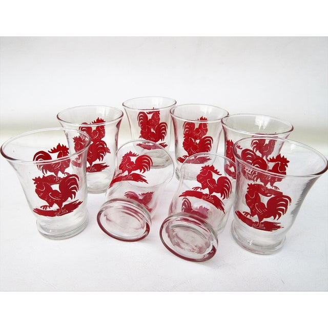 Red Libbey Rooster Juice Glasses - Set of 8 For Sale - Image 8 of 8