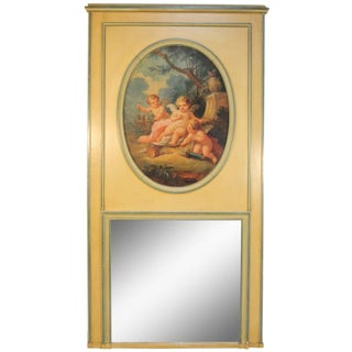 19th Century Painted French Louis XVI Style Trumeau Mirror Depicting Cherubs For Sale