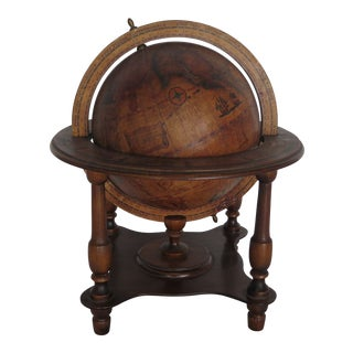 1960s Italian Nautical Wooden Globe