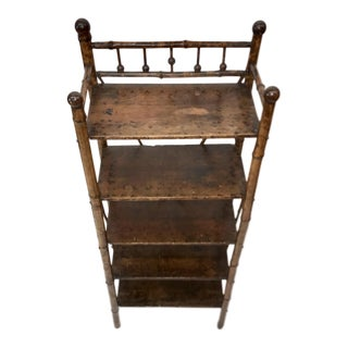 Antique Tiger Bamboo 5 Shelf Bookcase For Sale