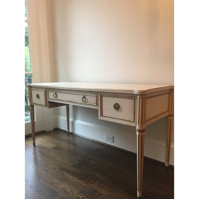 Drexel Scandinavian French Creamy White Drexel Desk With Gilding - Image 3 of 11