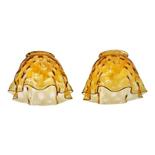 Mid-Century Hand Blown Amber Glass Bowl Shaped Glass Shades for Pendant Lamps - a Pair For Sale