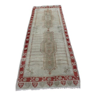 Vintage Turkish Wool Runner - 3′ × 8′ For Sale