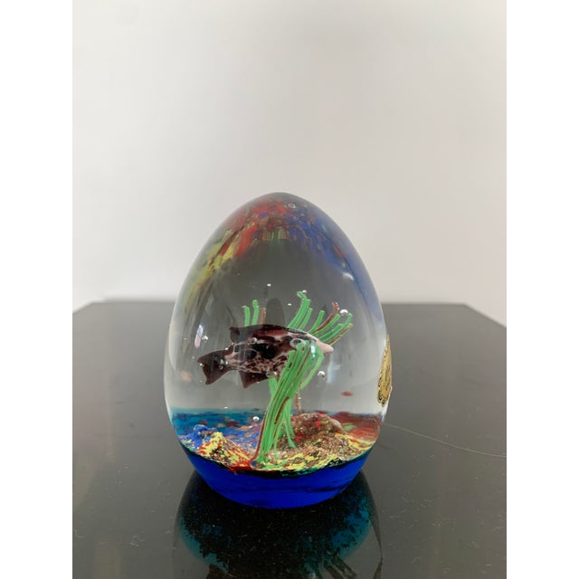 Mid-Century Modern Mid 20th Century Murano Italy Glass Aquarium Paper Weight For Sale - Image 3 of 9