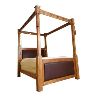 Mission Style Cross Cut Oak Queen Size Tall Four Poster Bed Frame