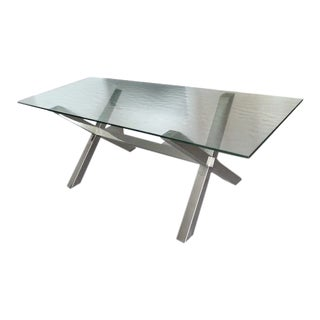 Cassina Modern Glass Top and Metal Legs Table