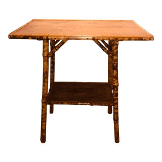 19th Century Boho Chic Bamboo, Leather and Snakeskin Table For Sale