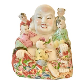 Vintage Porcelain Hand Painted Laughing Buddha For Sale