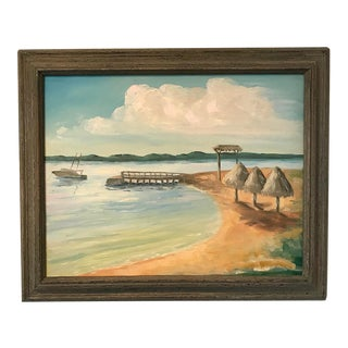 """1980s """"Vacation"""" Framed Beachscape Painting For Sale"""