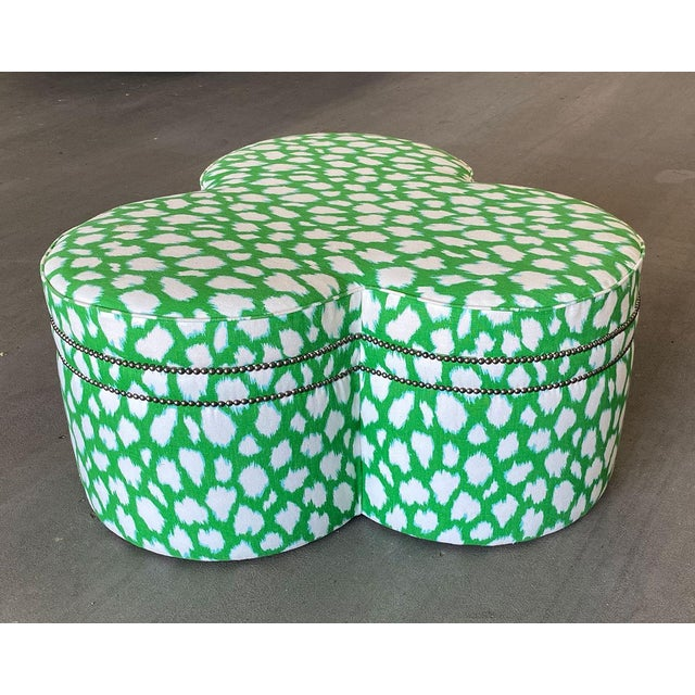 Contemporary Contemporary Large Cloverleaf-Shaped Ottoman Upholstered in Kate Spade Fabric For Sale - Image 3 of 9