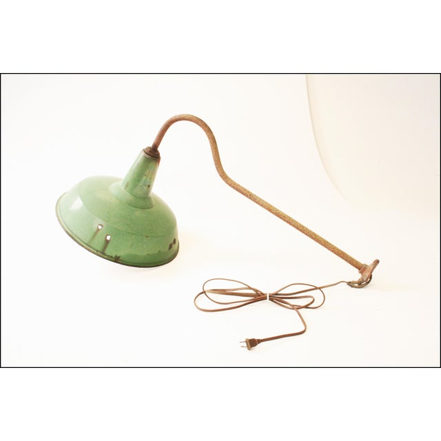 Vintage Industrial Green Enamel Light Fixture with Wall Bracket For Sale - Image 4 of 11