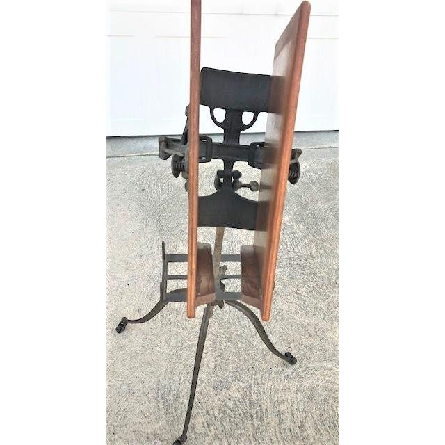 Antique Industrial Oak and Cast Iron Dictionary Stand For Sale - Image 4 of 6