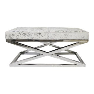 Modern Forest Collection Steel and Cowhide Silver Bench For Sale
