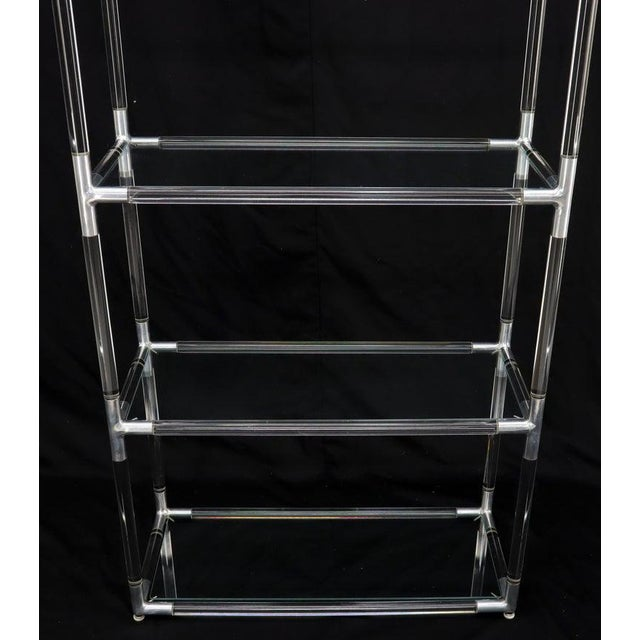 Mid-Century Modern Lucite and Aluminum Mid-Century Modern 5-Tier Etagere Vitrine Shelving Unit For Sale - Image 3 of 13